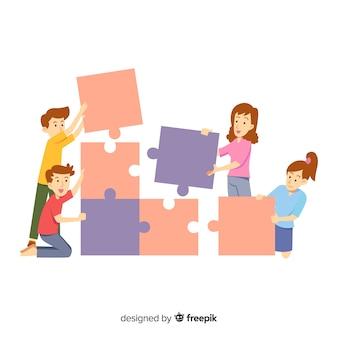 Personnes connectant fond de pièces de puzzle