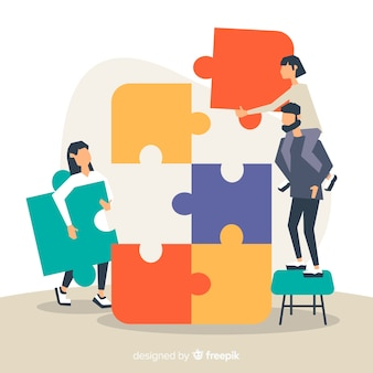 Personnes connectant des pièces de puzzle fond coloré