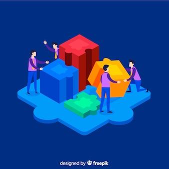 Personnes connectant des pièces de puzzle fond isométrique