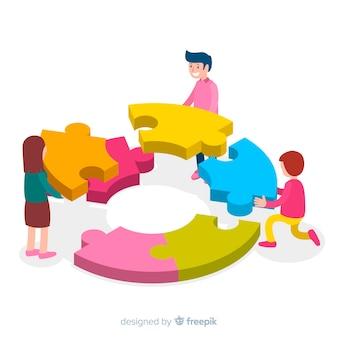Personnes connectant des pièces de puzzle