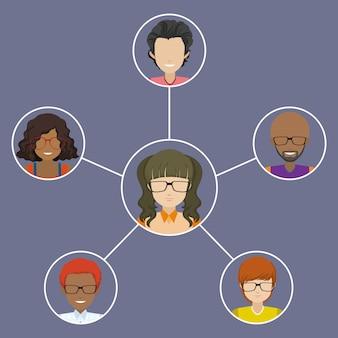 Personnes connectées les unes aux autres