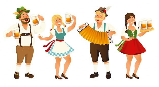 Personnes en costume bavarois traditionnel.