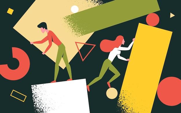Les Personnes Créatives Qui Résolvent Des Problèmes Tenant Des Figures Et Des Formes Abstraites Créent Des Solutions Vecteur Premium
