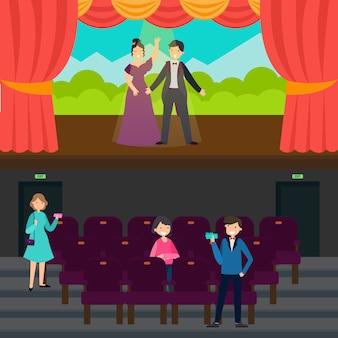Personnes dans des bannières horizontales de théâtre