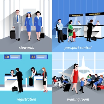 Personnes dans le concept de design de l'aéroport sertie d'icônes plates de contrôle des passeports et d'enregistrement