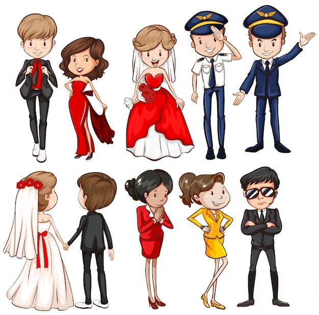 Personnes dans différentes robes illustration