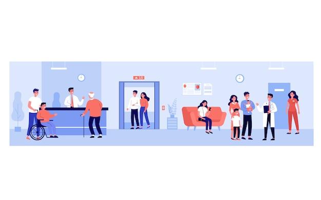 Personnes dans le hall de l'hôpital