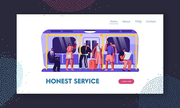Personnes dans le modèle de page de destination du site web metro