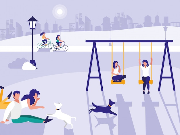 Personnes dans un parc avec aire de jeux