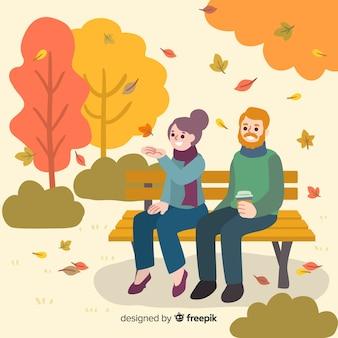 Personnes dans le parc en automne