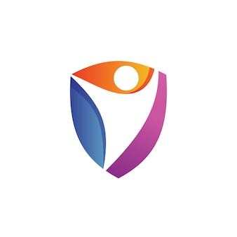 Personnes dans le vecteur de la fondation shield logo