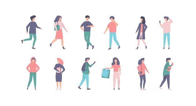 Personnes dans des vêtements décontractés illustration set, personnage de dessin animé homme femme en tenue élégante sur la rue de la ville, isolé sur blanc