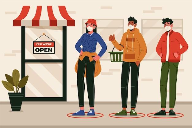 Personnes debout dans une file d'attente de magasin
