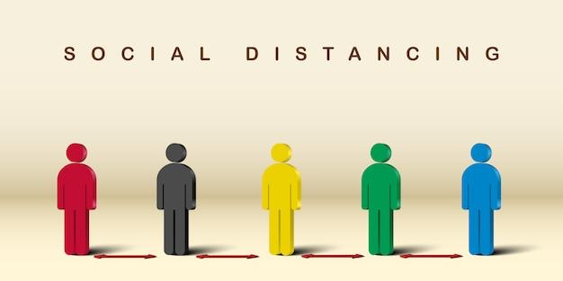 Personnes debout avec distanciation sociale.