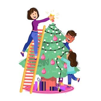Personnes décorer un design plat arbre