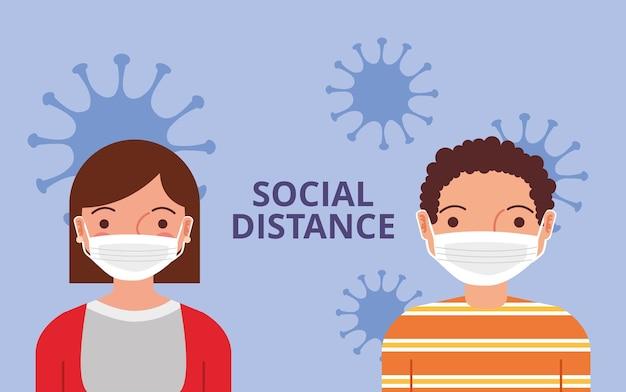 Personnes avec dessin animé de masque facial entre virus. distance sociale. illustration vectorielle