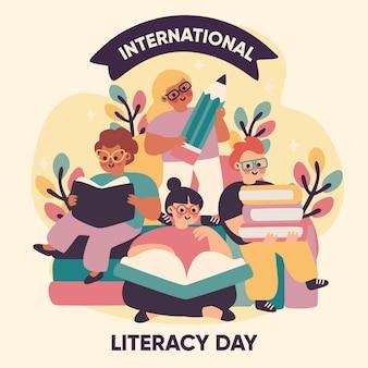 Personnes dessinées à la main célébrant la journée de l'alphabétisation