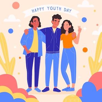 Personnes dessinées à la main célébrant la journée de la jeunesse tout en étreignant
