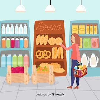 Personnes dessinées à la main dans l'illustration du supermarché