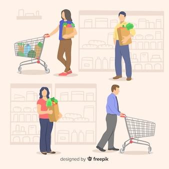 Personnes dessinées à la main dans le pack de supermarché