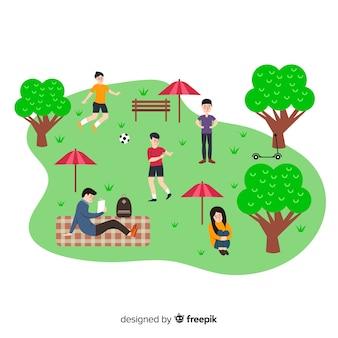 Personnes dessinées à la main dans le parc