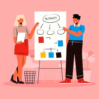 Personnes dessinées à la main démarrant un projet d'entreprise