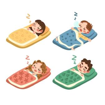 Personnes dessinées à la main dormant sur un futon