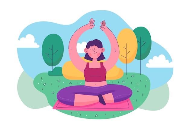 Personnes dessinées à la main, faire du yoga