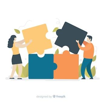 Personnes dessinées à la main faisant un fond de puzzle