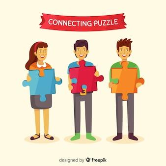 Personnes dessinées à la main faisant puzzle illustration