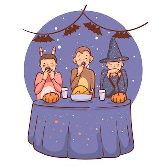 Personnes dessinées à la main halloween au dîner