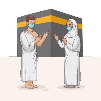 Personnes dessinées à la main avec des masques faciaux célébrant l'illustration du hajj