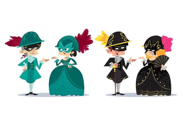 Personnes dessinées à la main portant des costumes de carnaval vénitien
