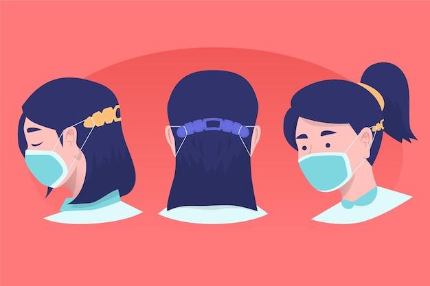 Personnes dessinées à la main portant une sangle de masque ajustable