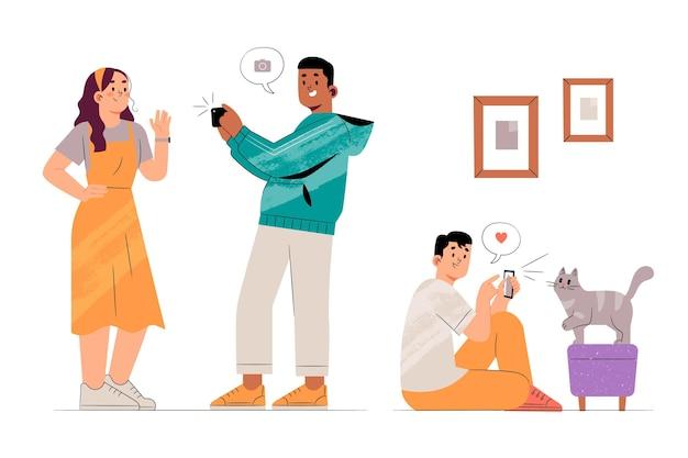 Personnes dessinées à la main prenant des photos avec un smartphone