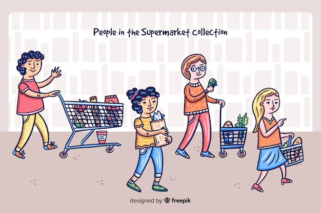 Personnes dessinées à la main qui achètent dans le contexte du supermarché