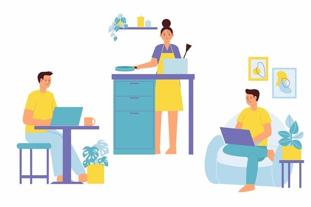 Personnes dessinées à la main travaillant à domicile