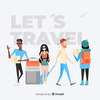 Personnes dessinées à la main voyageant pack