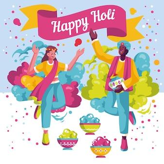 Personnes détaillées plates célébrant le festival de holi