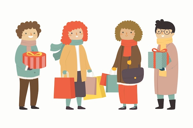 Personnes détenant des cadeaux fond de saison d'hiver