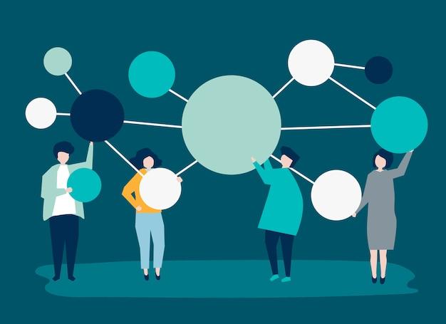 Personnes détenant des icônes de cercle de copie espace connecté