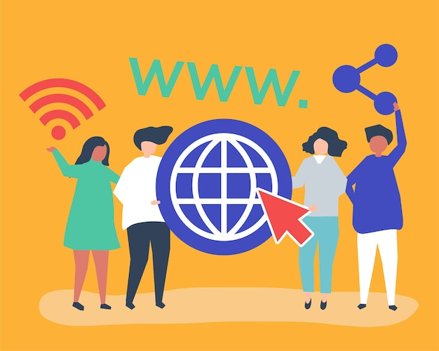 Personnes détenant des icônes du world wide web