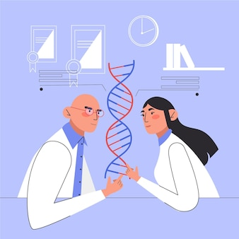 Personnes détenant des molécules d'adn dans un laboratoire