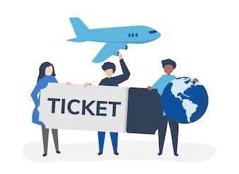 Personnes détenant un billet d'avion voyagent icônes connexes