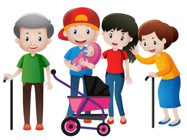 Personnes à différents âges en famille