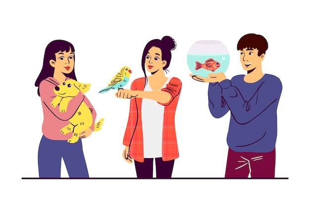 Personnes avec différents animaux illustrés design