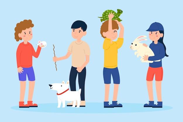 Personnes avec différents animaux