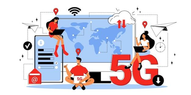 Personnes de différents pays utilisant internet sans fil 5g plat