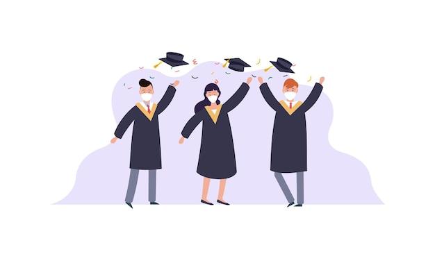 Personnes diplômées portant une illustration de masques médicaux