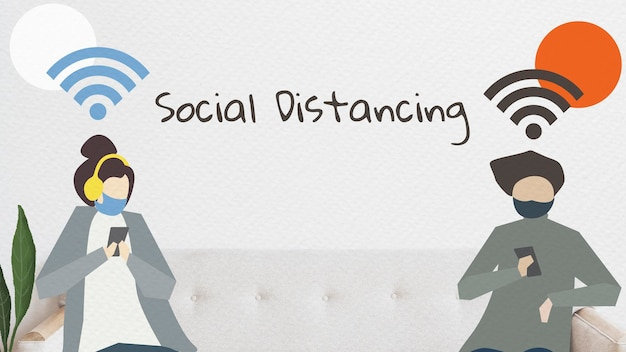 Personnes avec distanciation sociale en vecteur public